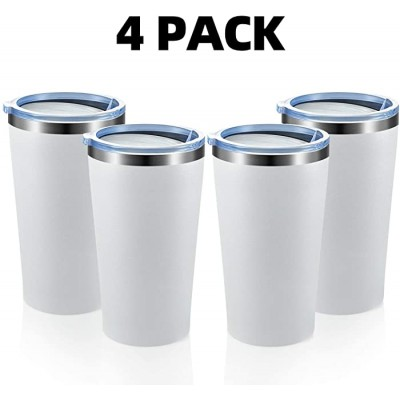 MEWAY 16oz Tumbler 4 Pack Stainless Steel Travel Coffee Mug with Lid Double Wall Insulated Coffee Cup Gift in Bulk for Women for Home Office Travel Great White 4 pack Office Products B081DRJ11B